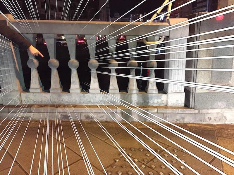 ランタンフェスティバル眼鏡端から2橋下流の「常磐橋」