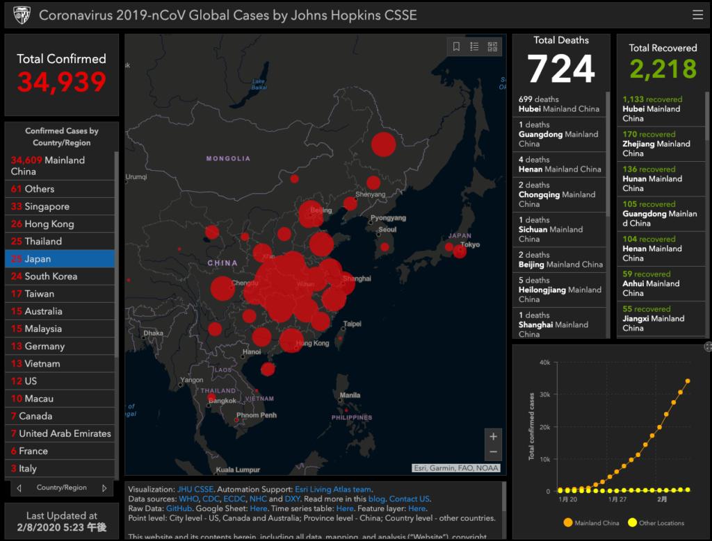 緊急更新中!新型コロナウィルス(武漢肺炎)の感染状況マップ